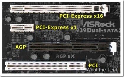 Izgled PCI-E, AGP i PCI slota